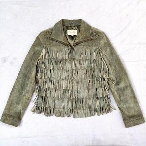 Scully Vintage Suede Olive Fringe Studded Jacket